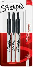Sharpie Retractable Permanent Markers Fine Point Black 3 Count Pack