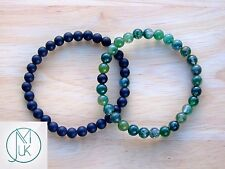 Couple Moss Agate/Frost Onyx Natural Gemstone Bracelet Beaded 7-8'' Elasticated