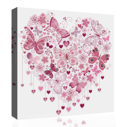 Pink Heart of Butterflies Abstract 100/% Cotton Canvas Wall Art Picture Print