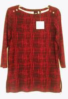 Rafaella Studio Boat Neck 100% Cotton Knit Top Tunic. Size M. With Tag.