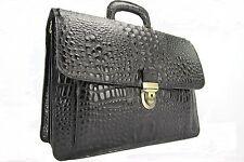 Luxus Aktentasche Leder Kroko Schwarz + 1 Jahr Garantie