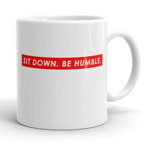 Red Box Logo Style Coffee Cup Sit Down Be Humble Funny Hip Hop Mug Cool Black