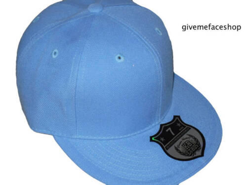 Sky blue fitted cap Ethos plain flat peak hip hop urban street brim size 6-8
