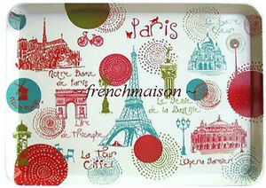 Torchons-amp-Bouchons-Paris-Monuments-EIFFEL-TOWER-MOULIN-ROUGE-French-Medium-TRAY
