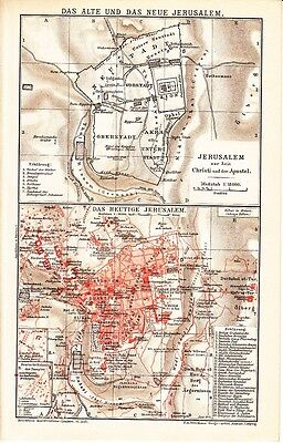 1899 Israel Palestine JERUSALEM & Outskirts Old & New City CITY PLAN on gang map, fat map, central european time zone map, super map, de map, nd map, car map, old map, un map, mis map, spain and portugal map, n dakota state map, bogota on map, union map, uno map, unr map, red map, umd map, fun map, war map,