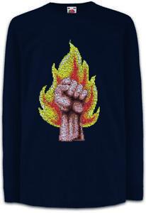 Pixel-Fire-Fist-Kinder-Langarm-T-Shirt-Raised-Gamer-Revolution-Brennende-Faust