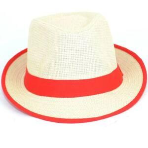 Cappello di paglia uomo con banda colorata rosso tinta unita naturale moda estiv