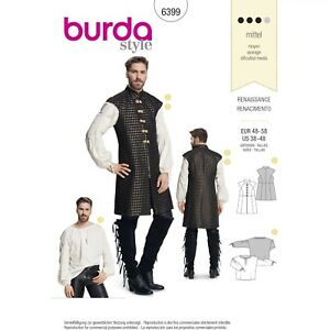 Burda 6399 Sewing Pattern Men Costume Littlefinger Game of Thrones GOT Sz 38-48