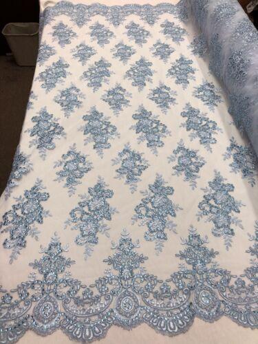 Lentejuelas Brillante Floral-azul de bebé-Tela de encaje bordado en vendido por yarda