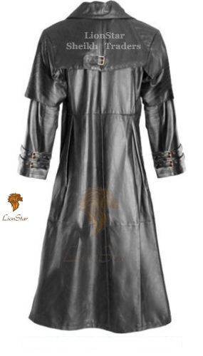 Vintage Unisex Fancy Edwardian Vampire Leather Coat Military Gothic Steampunk qf1At
