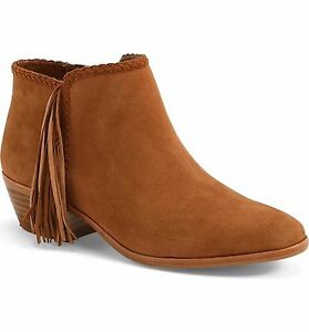 88bb3a9a258a03 SAM EDELMAN New Paige Fringe Ankle Boots Bootie Cinnamon Brown Suede ...