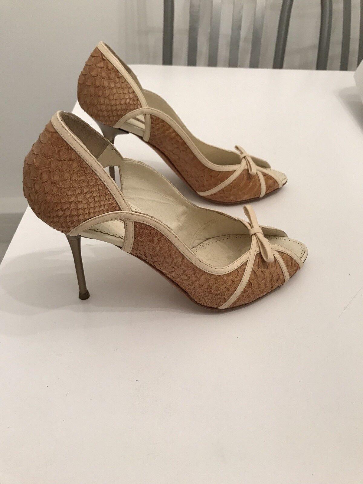 Gianmarco Lorenzi Snakeskin Leather Beige Cream Peep Toe Heel RARE 37 7