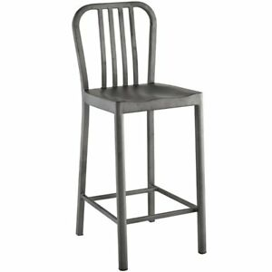 Modway Clink 26 Metal Counter Stool In Silver Ebay
