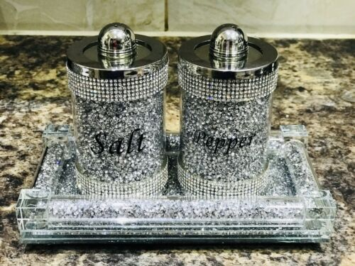 Silver Crushed Crystal Diamond Salt And Pepper Shakers With Tray Diamante Bling