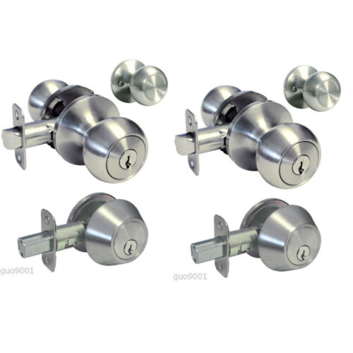 Entrance Keyed Entry Satin Nickel Storeroom Deadbolt Combo Door Lock 1//2//3 sets