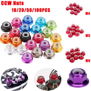 50PCS-100PCS-M4-M5-M6-CCW-Aluminium-NUTS-Flanged-Nylon-Insert-Hex-Self-Lock-Nuts