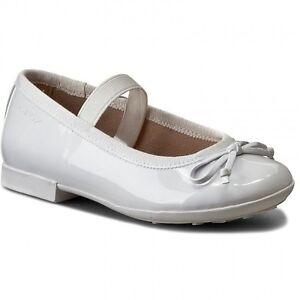 Dettagli su GEOX PLIE' J5455I WHITE scarpe donna ballerine lucide mocassini pelle bianco