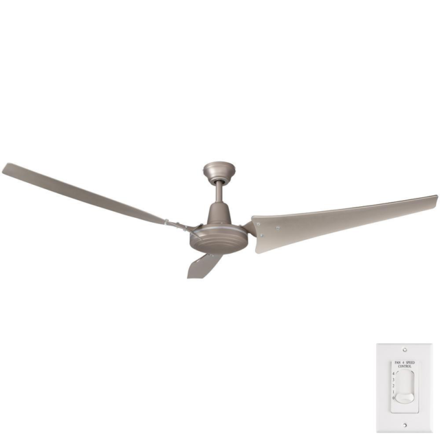 Energy Star Ceiling Fan Work Shop Industrial Garage Wallmount Remote Nickel60 in