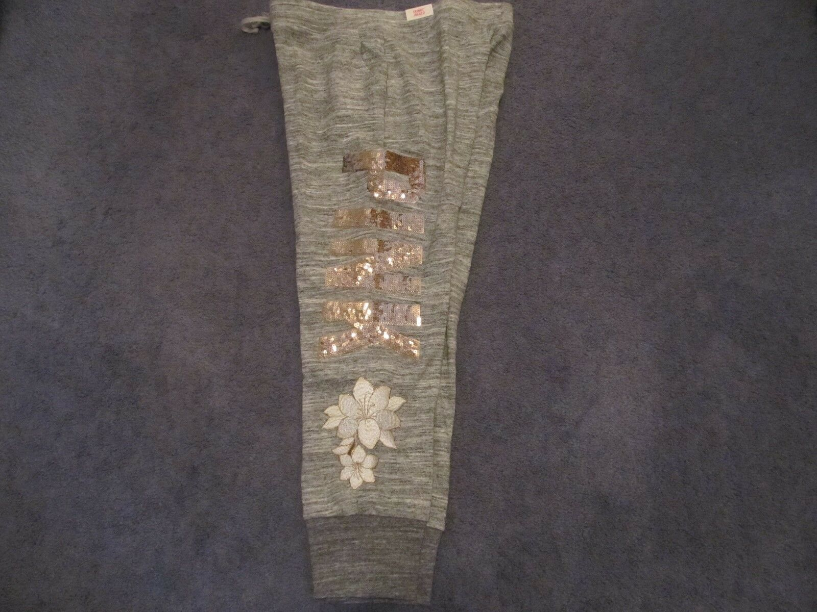 NWT VICTORIA'S SECRET PINK BLING SKINNY JOGGER LARGE EMBROIDED FLOWERS
