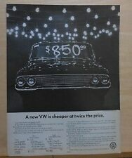 1966 magazine ad for Volkswagen - new VW twice price cheaper of 4 yr old others