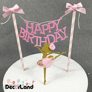 Image Is Loading HAPPY BIRTHDAY Dancing Girl Pink Elegant Cake Bunting