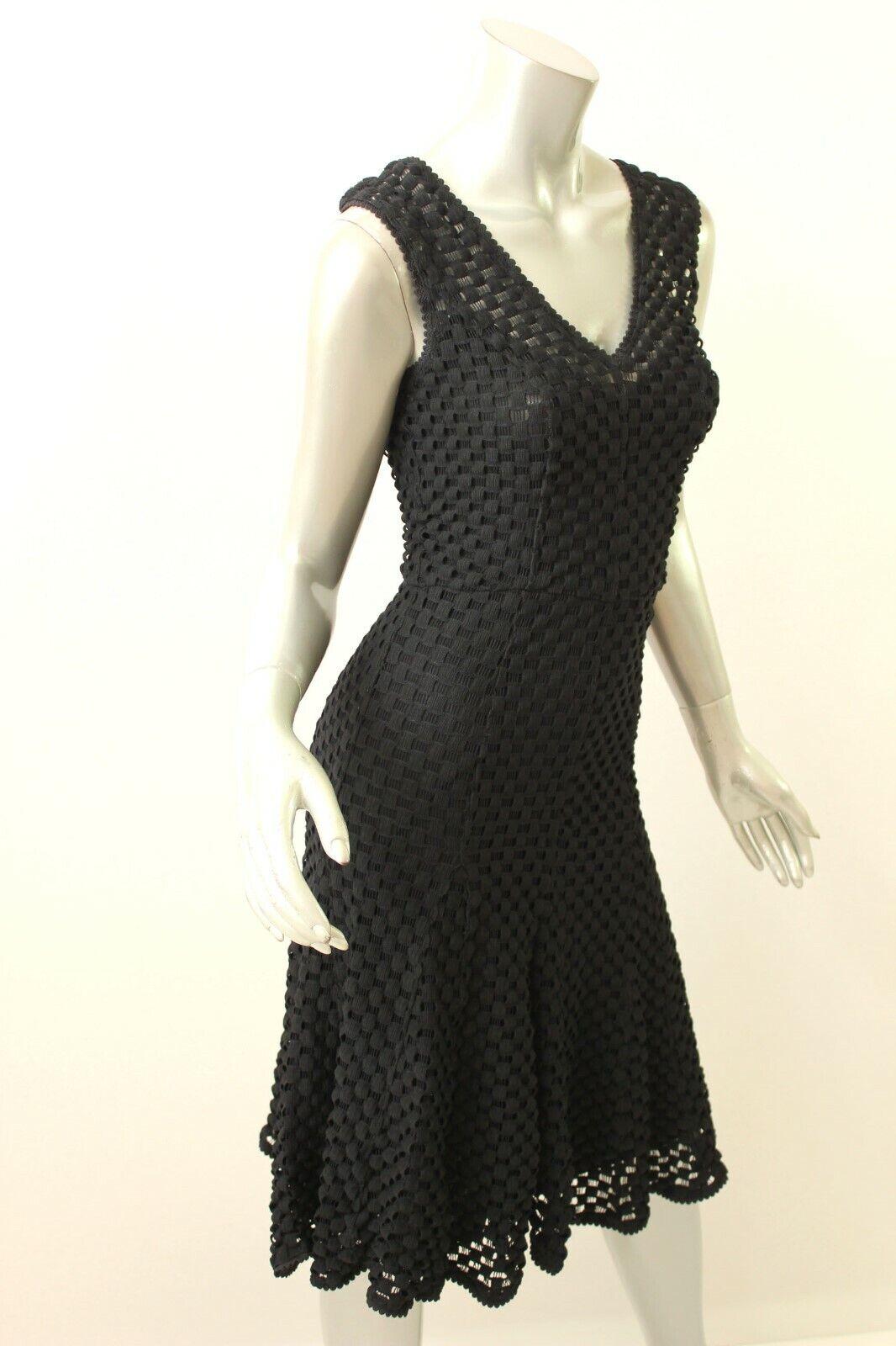 TRACY REESE schwarz Checkerot Lace Godet Dress P