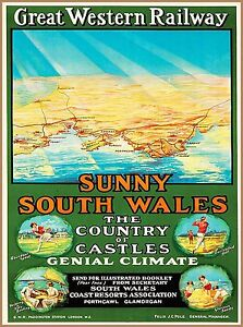 Sunny South Wales Vintage Great Western Railway Travel Advertisement Poster