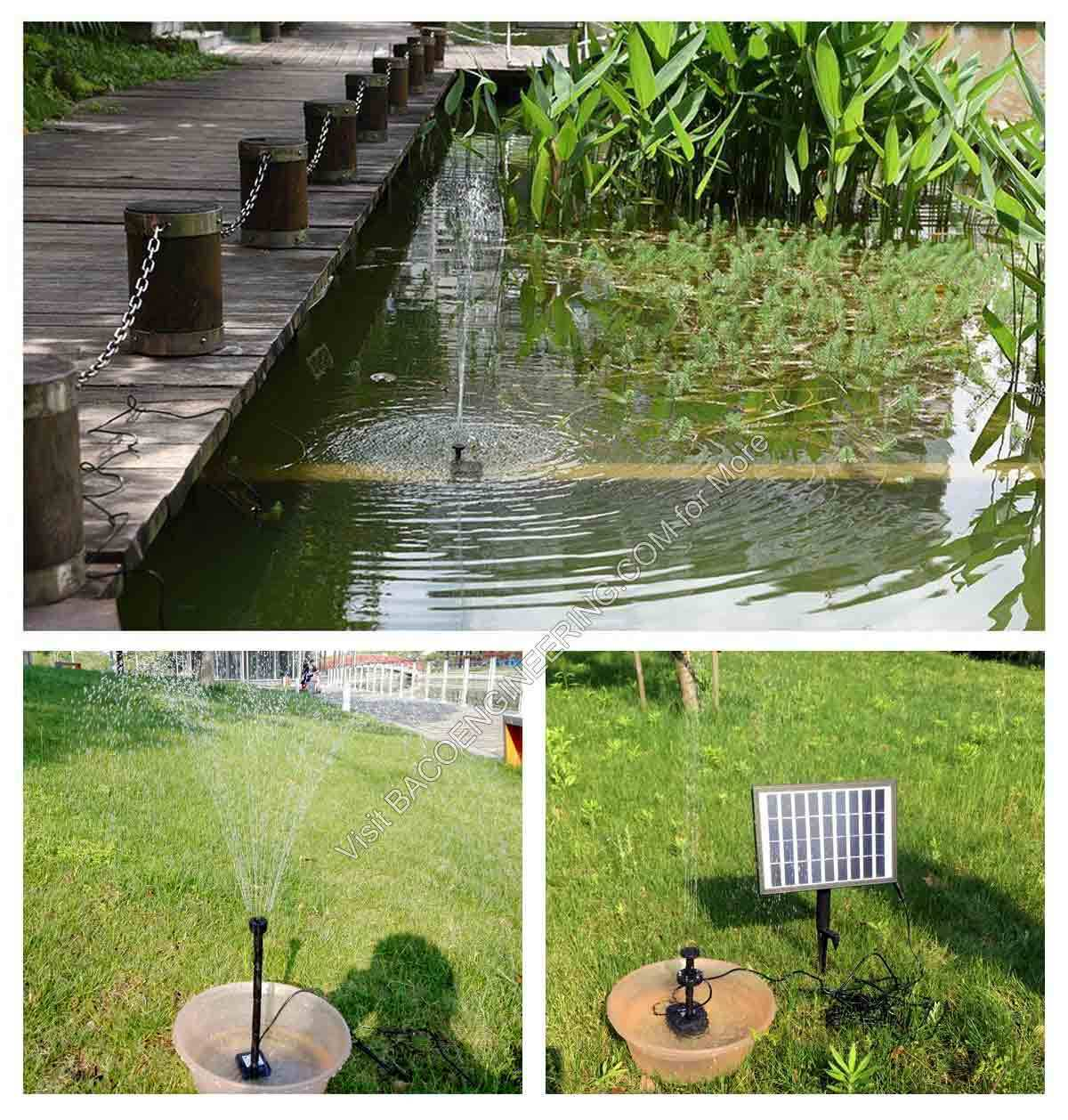 Bacoeng solar power panel kit fountain water pump for for Pump water from pond to garden
