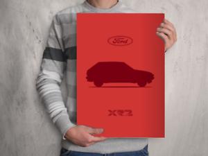A4 A3 A2 Art Print FORD FIESTA XR2 Mk2 POSTER Classic Car Silhouette