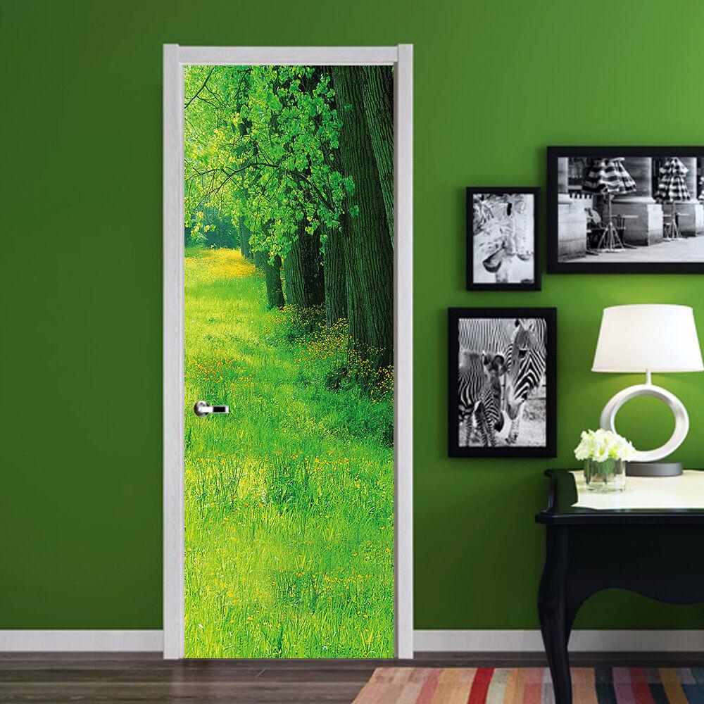 3D Grüne Bäume 59 Tür Mauer Wandgemälde Foto Wandaufkleber AJ WALL DE Lemon