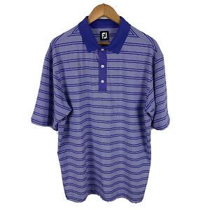 Footjoy-FJ-Mens-Golf-Polo-Shirt-Size-XL-Striped-Purple-Short-Sleeve