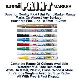 Uni-Colour-Oil-Paint-Marker-Pen-Fine-0-8mm-1-2mm-Line-Metal-Glass-Wood-PX-21