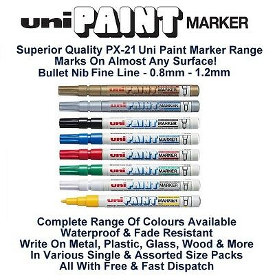 SILVER UNI PAINT MARKER PEN Fine 0.8mm 1.2mm Line PX-21 Metal Glass Wood