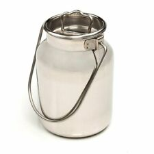 Small Shining Stainless Steel Milk Can Seamless Solid Bail 10 High 13 Gallon