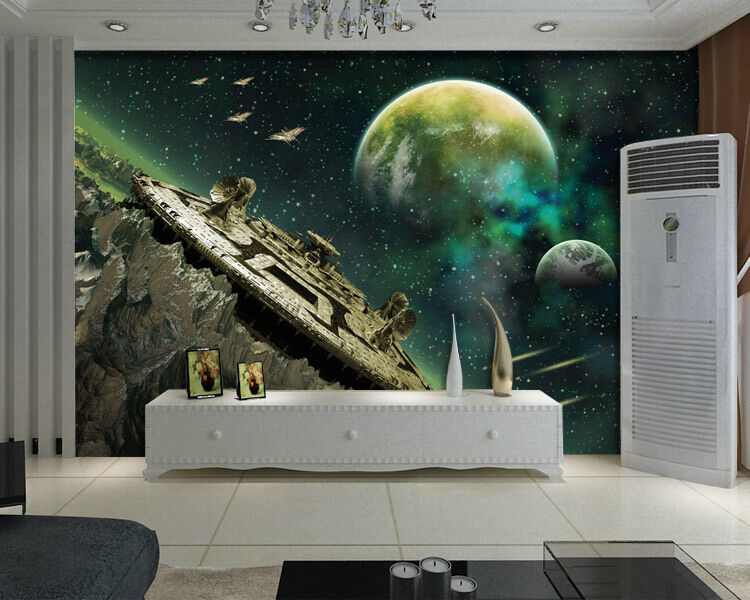 Alien Planet With Space Station  Full Wall Mural Photo Wallpaper Print 3D Decal
