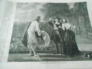 Adroit Gravure 1865 - La Rencontre D'après Un Tableau De Leslie MatéRiaux Soigneusement SéLectionnéS