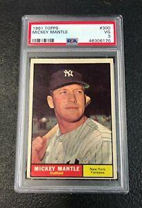 New-York-Yankees-Mickey-Mantle-1961-Topps-300-PSA-3-Vg