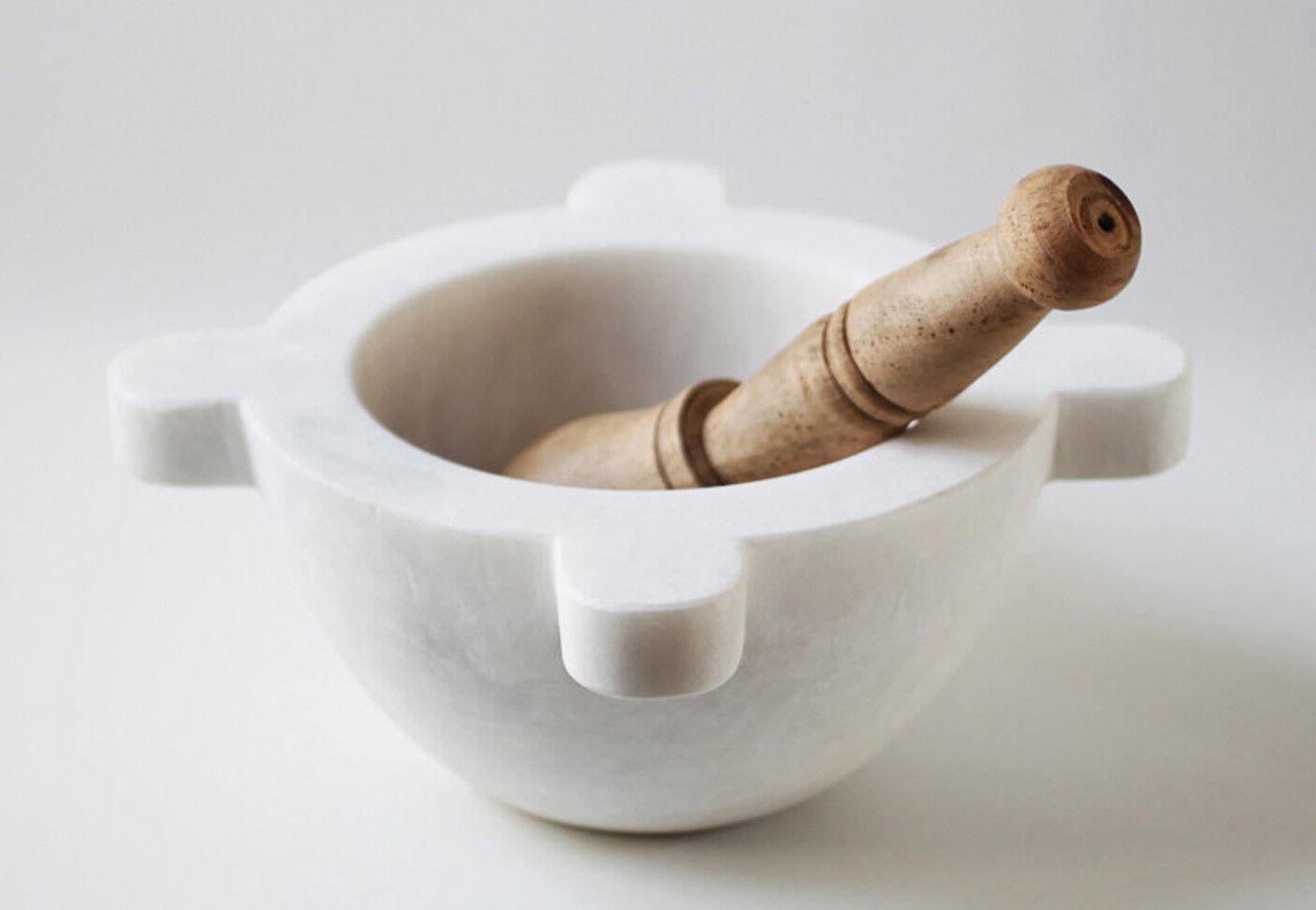 Mortier de Cuisine en Marbre Blanc avec Pilon Bois Blanc Marble Mortar 20cm