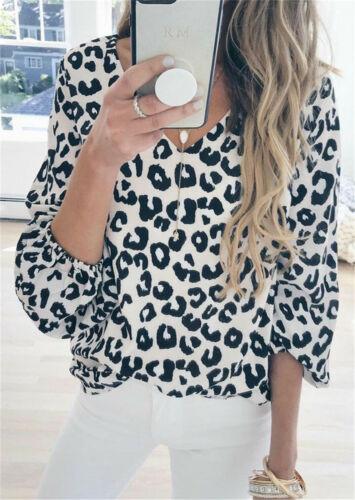UK Womens Leopard Print Shirt Blouse Lady Long Sleeve V-Neck Casual Top Tshirt