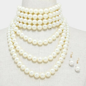 pearl choker necklace long chunky multi layered pearls bib. Black Bedroom Furniture Sets. Home Design Ideas