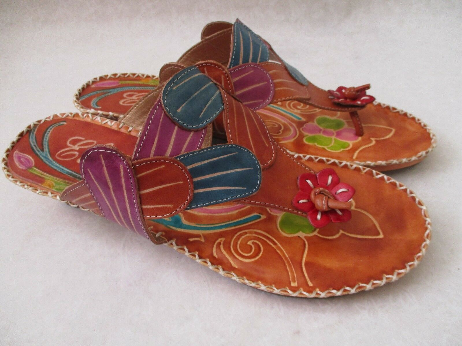 ELITE BY CORKYS BONITA AMBER HAND PAINTED LEATHER SANDALS SIZE 10 - NEW