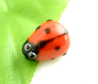 80Pcs New Ladybug Lampwork Glass Spacer Beads Red 15x10mm