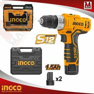 Trapano Avvitatore A batteria 12 V 2 Batterie incluse In valigetta Ingco
