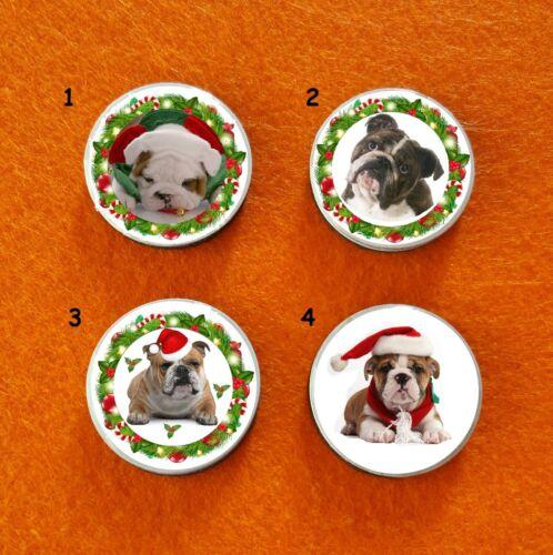 ENGLISCHE BULLDOGE english bulldog HUND DOG WEIHNACHTEN CHRISTMAS DEKO MAGNET
