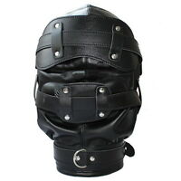 Lockable Leather Gimp Bondage Hood Deprivation GAY Mask Mouth Gag Blindfold )
