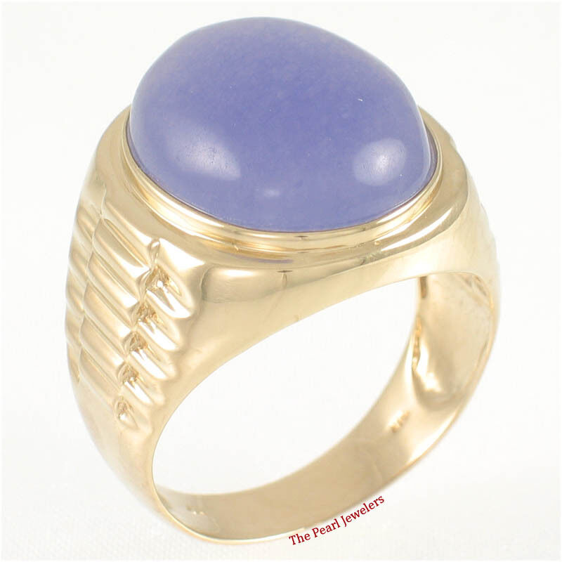 14k Solid Yellow gold 15x18mm Cabochon Oval Lavender Jade Man's Ring TPJ