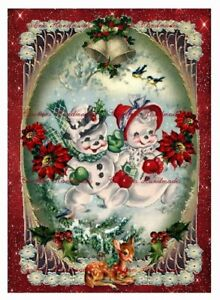"1 Victorian Christmas Lady Designer Fabric Quilt Block @ 5X7/"" on 8.5X11/"" Sheet"