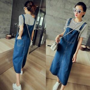Women-Summer-Casual-Denim-Jean-Dress-Pinafore-Bib-Overall-A-Line-Suspender-Skirt