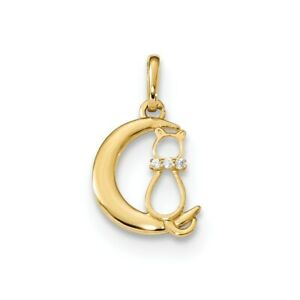 14K-Childrens-Cz-Cat-And-Moon-Pendant-New-Charm-Yellow-Gold