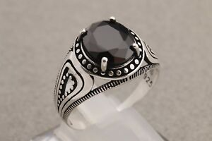Turkish-Handmade-Jewelry-Oval-Cut-Black-Onyx-925-Sterling-Silver-Men-039-s-Ring-12-5